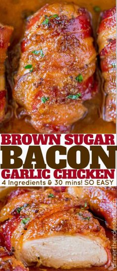 brown sugar Bacon Brown Sugar Garlic Chicken, the best chicken you'll ever eat with only 4 ingredients. Sticky, crispy, sweet and garlicky, the PERFECT weeknight meal. Brown Sugar Chicken, Brown Sugar Bacon, Chicken Bacon, Baked Chicken, Bourbon Chicken, Chicken Sandwich, Sweet Garlic Chicken, Lemon Chicken, Easy Family Meals