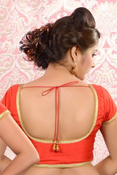#Red raw #silk plain #blouse in u neck & Cap Sleeves -BL486