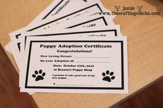 There has to be an adoption certificate to make it all final at the #PuppyShop party