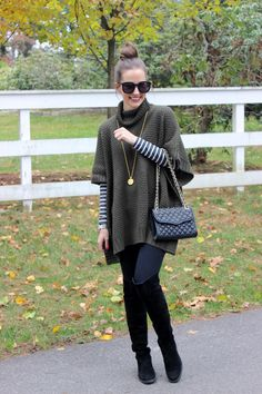 Style inspiration: poncho sweater, long sleeve shirt, skinny pants, and boots. (Would wear a shirt and poncho in similar color/shade)