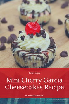 Lip Smackin' Mini Cherry Garcia Cheesecakes Recipe Yummy Treats, Sweet Treats, Yummy Food, Tasty, Cheesecake Calories, Baking Recipes, Dessert Recipes, Dinner Recipes, Finger Desserts