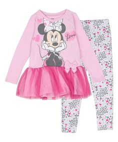 Look at this #zulilyfind! Pink Minnie Mouse 'Love' Dress & Leggings - Infant & Toddler #zulilyfinds