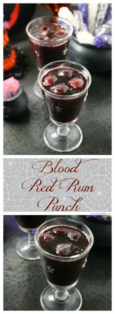Keep the ghosts and goblins away with this bewitching Blood Red Rum Punch. Black Cherry and pomegrante juices are mixed with spiced rum and fresh citrus with a dash of sweetness thanks to Skinny Grenadine Syrup made with Sweet 'N Low®. Halloween Punch, Halloween Cocktails, Halloween Food For Party, Halloween Treats, Alcoholic Punch, Drinks Alcohol, Juice Drinks, Beverages, Recipes