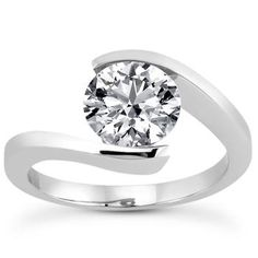 One Day....Engagement Rings - 1.0 ct. Spiral Tension Set Round Solitaire Engagement Ring