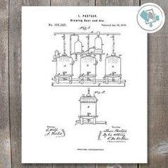 Brewing Beer Patent Print | Bar Decor | Bar Print | Beer Print | Beer Prints | Bar Theme