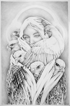 """Shroud"". Graphite on Paper. 2015. 7""x11"". Collin Elder. www.collinelder.com ... #sketch #sketchbook #graphite #drawing #pencil #interconnected #birds #protectthesacred #motherearth #defendthesacred #ecopsychology #deepecology #animalrights #ecosurrealism #symbolism #supernatural #visionaryart #directexperience #art #artist #hawk"