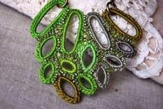 Green Leaves Crochet Necklace designed by Victoria Letemendia Koupparis.