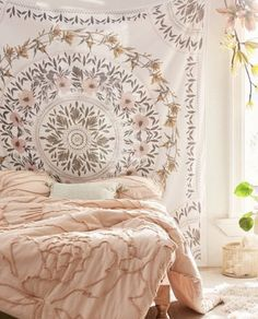 Dreaming of a boho dorm room? Check out the ultimate list of boho dorm decor essentials to create the coziest room on campus. Living Room Inspiration, Medallion Tapestry, Boho Dorm, Bedroom Interior, Bedroom Design, Room Inspiration, Dorm Room Decor, Master Bedroom Interior, Living Decor