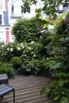 Terrace on a few square meters – Xavier de Chirac Related posts:Plant containers for a terracePoetic atmosphere for this small patioUrban Retreats: 10 Dreamy Rooftop Gardens Porch Garden, Terrace Garden, Patio Design, Garden Design, Green Terrace, Patio Plans, Outdoor Gardens, Rooftop Gardens, Beautiful Gardens