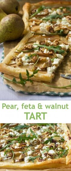 Pear feta and walnu Pear feta and walnut tart Recipe :. Pear feta and walnu Pear feta and walnut tart Recipe : And Veggie Recipes, Appetizer Recipes, Vegetarian Recipes, Cooking Recipes, Healthy Recipes, Pear Recipes Dinner, Recipes With Pears, Appetizer Dessert, Feta