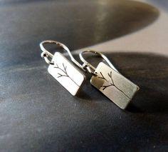 Trees Sterling silver earrings dangle earrings natural por Mirma