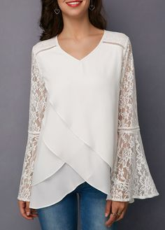 White Lace Panel Asymmetric Hem Blouse - Ideal World Blouse Styles, Blouse Designs, Bluse Outfit, Pullover Shirt, Sewing Blouses, Trendy Tops, Lace Tops, Dress Patterns, Blouses For Women