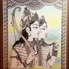 Rama Sita Mughal art print home decor gift Mandala Art Lesson, Mandala Drawing, Ganesha Drawing, Mandala Artwork, Madhubani Art, Madhubani Painting, Indian Art Paintings, Mughal Paintings, Picasso Paintings