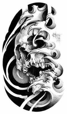 Evil Skull Tattoo, Skull Tattoos, Tattoos For Guys, Cool Tattoos, Traditional Tattoo Man, Ancient Tattoo, Japanese Tattoo Designs, Oriental Tattoo, Irezumi
