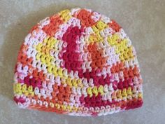 Handmade-Crochet-Cotton-Chemo-Cap-Baby-Toddler-Beanie-Hat-Color-Candy-Corn