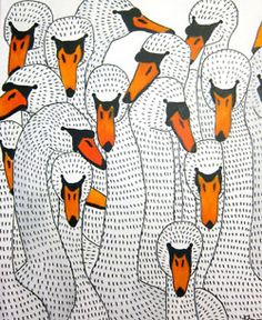 Animals or flora repeated to make an asymmetrical pattern - yr 7-8 - image: Johanna Burai