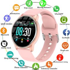 Unisex Sport Smart Watch For Android IOS Save this photo on your board if you ❤️ it. Smartwatch, Badminton, Sport Watches, Watches For Men, Bracelet Sport, Smart Bracelet, Time And Weather, Remote Camera, Bracelet Display