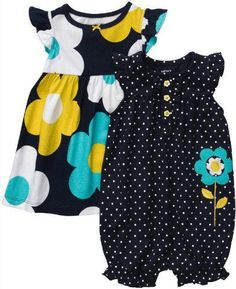 NWT Carter\'s Girls\' 2-Pack Romper and Dress Set 24M Navy Dot/Floral