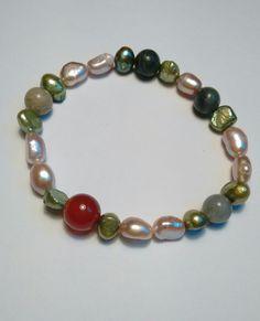 Armband edelstenen en parels. van Atelier925 op DaWanda.com