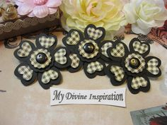 Black and Plaid Handmade Paper Embellishments, Paper Flowers for Scrapbook Layouts Cards Mini Albums Tags and  Paper Crafts by mydivineinspiration on Etsy https://www.etsy.com/listing/270232307/black-and-plaid-handmade-paper