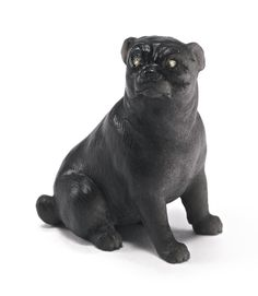 A Russian carved hardstone figure of a pug dog,the attentive figure of the pug carved of silver sheen obsidian, set with diamond eyes, probably Fabergé circa 1900,  PROPERTY FROM THE COLLECTION OF MILLICENT ROGERS