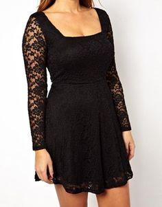 Black lace full-sleeve skater dress ASOS CURVE