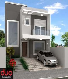 Beautiful New Home Exterior Design For You House Front Design, Modern House Design, House Paint Exterior, Exterior Design, Balcony Railing Design, Independent House, Two Storey House, Small Modern Home, Contemporary Home Decor