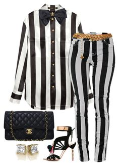 """""""Striped Out"""" by fashionkill21 ❤ liked on Polyvore featuring H&M, Chanel, Sophia Webster and Yves Saint Laurent"""