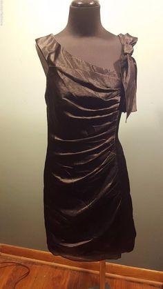 White Vera Wang Black Polyester Satin Ruched Sleeveless Bow Formal Dress 8 Euc #VeraWang #Sleeveless #Formal #daystarfashions $39.99