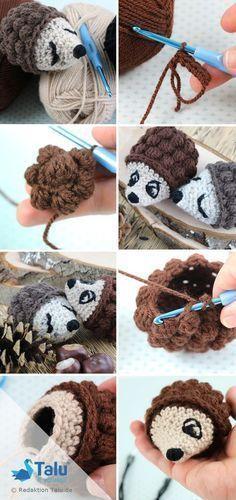 Crochet hedgehog in Amigurumi style - Instructions for Anfä - Crochet Toys Poney Crochet, Crochet Pony, Crochet Amigurumi, Crochet Slippers, Crochet Yarn, Crochet Stitches, Animal Knitting Patterns, Crochet Patterns, Crochet Hedgehog