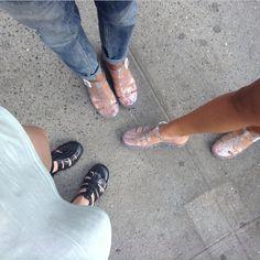 American Apparel Juju babe jelly sandals. love!