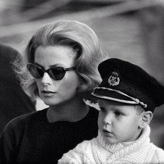 Princess Grace of Monaco with her son, Prince Albert