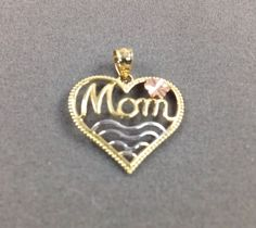 Mom Heart Pendant-14K Solid Gold Tricolor waves-NEW #GianniDeloroJewelry #Pendant
