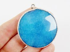 Large 42mm Cyan Blue Round Facted Jade Pendant  by LylaSupplies