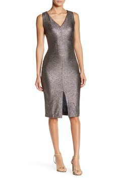 Image of Love...Ady Metallic Front Slit Bodycon Dress
