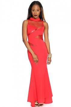 Red Mesh Cut Outs Sexy Maxi Dress