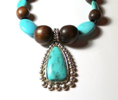 Brown and Turquoise Color Beaded Necklace with by JKCEDesigns, $24.95