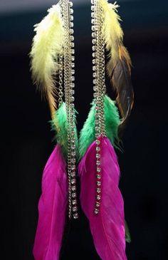 GORGEOUS Feather  & rhinestone earrings! @modtoast