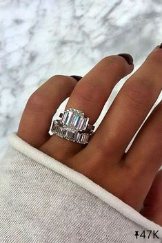 21 Excellent Wedding Ring Sets For Beautiful Women wedding ring sets white gold wedding rings emerald cut rings beautiful rings three stone engagement rings Classic Wedding Rings, Wedding Rings Simple, White Gold Wedding Rings, Diamond Wedding Rings, Bridal Rings, White Gold Rings, Diamond Rings, Solitaire Rings, Solitaire Diamond