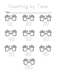"These are writing and tracing worksheets with ""hand"" graphics to help illustrate the concept of counting by tens, fives, and twos. I hope you find them helpful! Numbers Kindergarten, Learning Numbers, Kindergarten Worksheets, Math Activities, Printable Math Worksheets, Tracing Worksheets, Counting By 10, 2 Kind, 1st Grade Math"