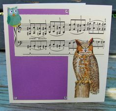 any occasion FWB by RogueKissedCraft Owl Card, Vintage Sheet Music, Rogues, Recycled Materials, Etsy Store, Birthday Cards, Recycling, Songs, Brown