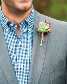 Real Wedding: Erin and Ari, Portsmouth, New Hampshire The Boutonniere A mini succulent paired with fresh-picked raspberries and mountain mint adorned the lapel of Ari's Zara suit.