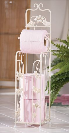 Distressed White Lillies Metal Toilet Paper Holder Bathroom Decorative Accent