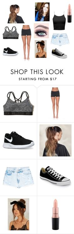 """""""Zoey 3pt1"""" by molly-johnson-i on Polyvore featuring Hollister Co., Solow, NIKE, Balmain, MANGO, Converse and MAC Cosmetics"""