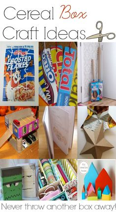 Cereal box craft ideas to do with kids.  You'll never want to throw another cereal box away again! (scheduled via http://www.tailwindapp.com?utm_source=pinterest&utm_medium=twpin&utm_content=post1788831&utm_campaign=scheduler_attribution)