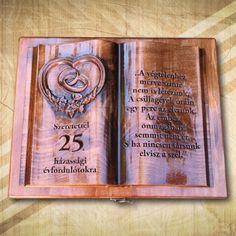 25. házassági évfordulóra ajándék fakönyv-<Mívesfa #évfordulósajándék #25házasságiévforduló #ajándék #esküvőre #nászajándék #különlegesajándék Cover