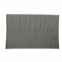 Alfombra de exterior de polipropileno blanca y negra 180 x 270 cm KAMARI