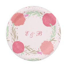 Paper Plates Elegant Pink Rustic Floral Pattern 7 Inch Paper Plate