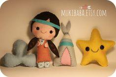 CRIB MOBILE - Baby Mobile - Teepee - Indian girl - star - custom