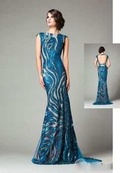 Stunning Mermaid Evening Dresses 2015 Long Prom Gowns Boat Neck Cap Sleeve Backless Long Formal Dresses Custom Made